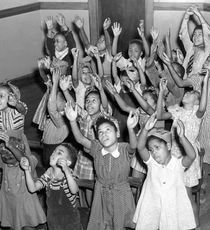 "2nd and 3rd graders singing at the Virginia Avenue ""Colored"" School (image from Pinterest)"