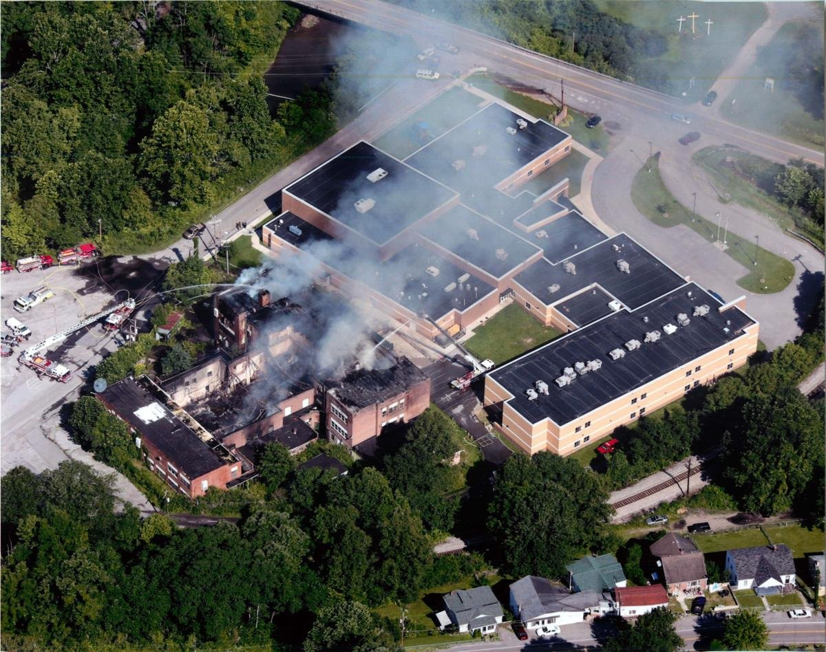 Big Creek High School Fire. Also pictured is Southside K-8.