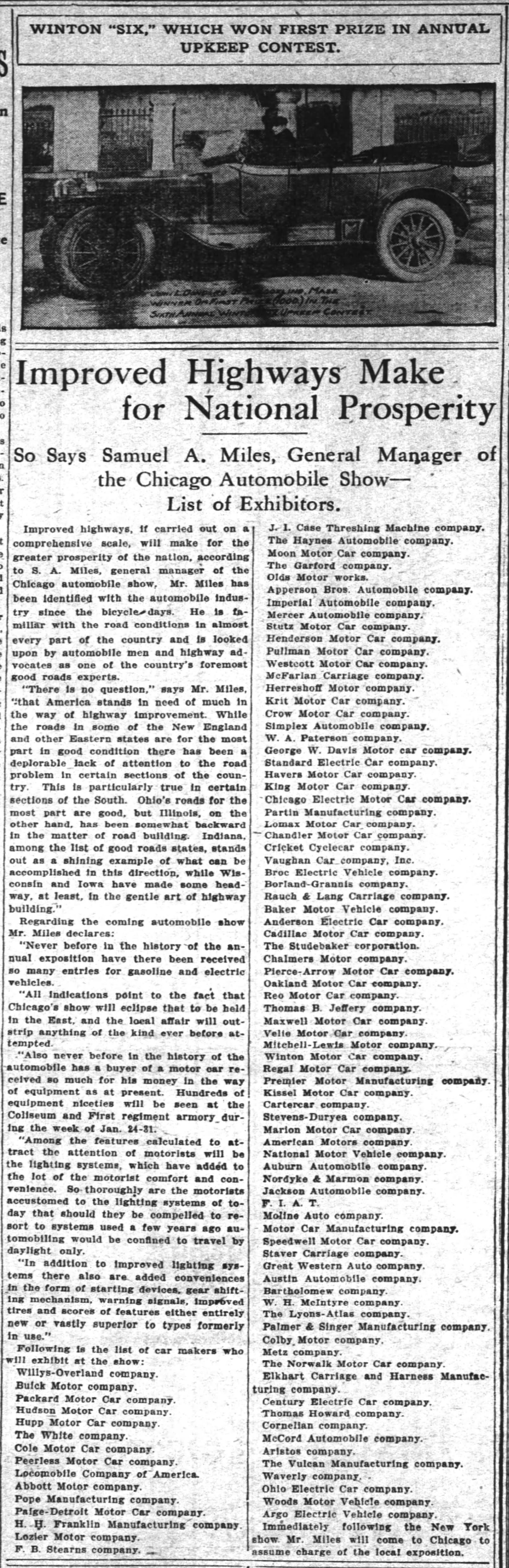 An article from The Inter Ocean (a Chicago, IL newspaper, dated December 28 1913) displaying the list of exhibitors for the 1913 Chicago Auto Show. Exhibitors include the Norwalk Motor Car Company.