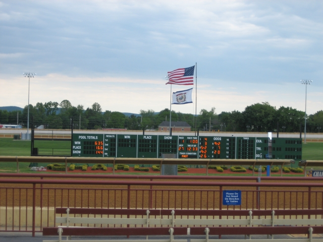This is the tote board for keeping score at the Charles Town Races.