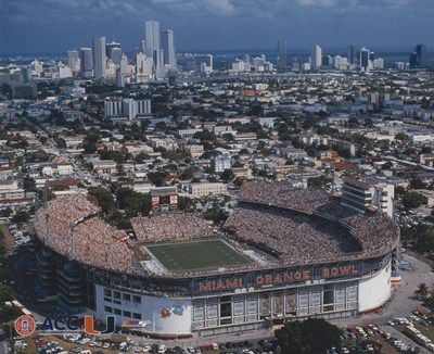 A downtown view of the Miami Orange Bowl on a college football Saturday.