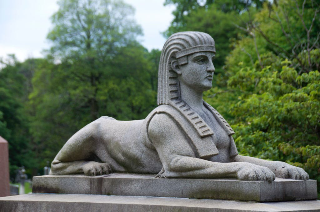 A sphinx headstone