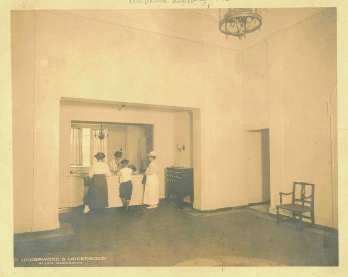 The interior of the McIntire Building when it served as Ablemarle County's library. Circa 1922. Courtesy of the ACHS