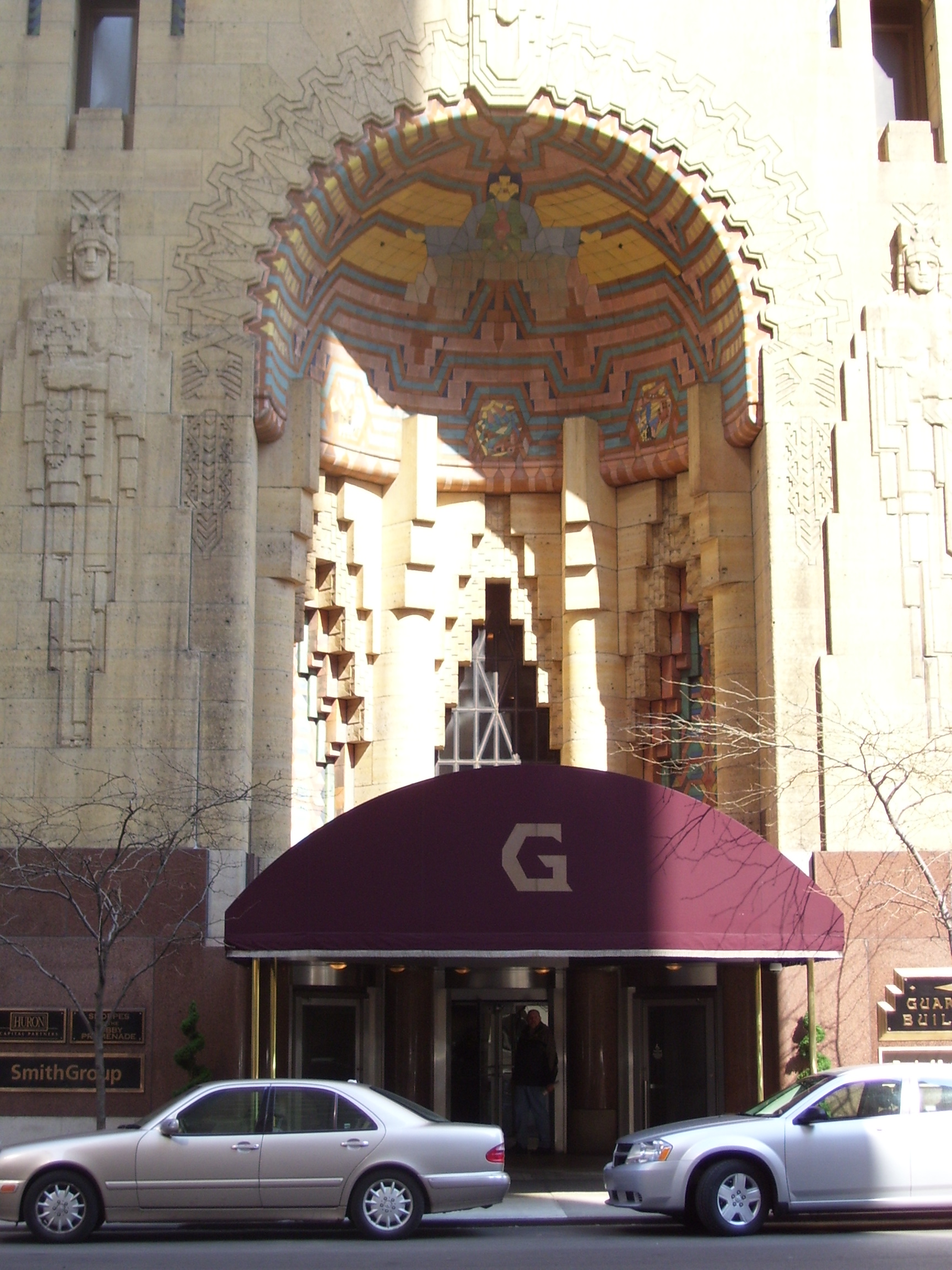 An exterior arches of the Guardian Building.