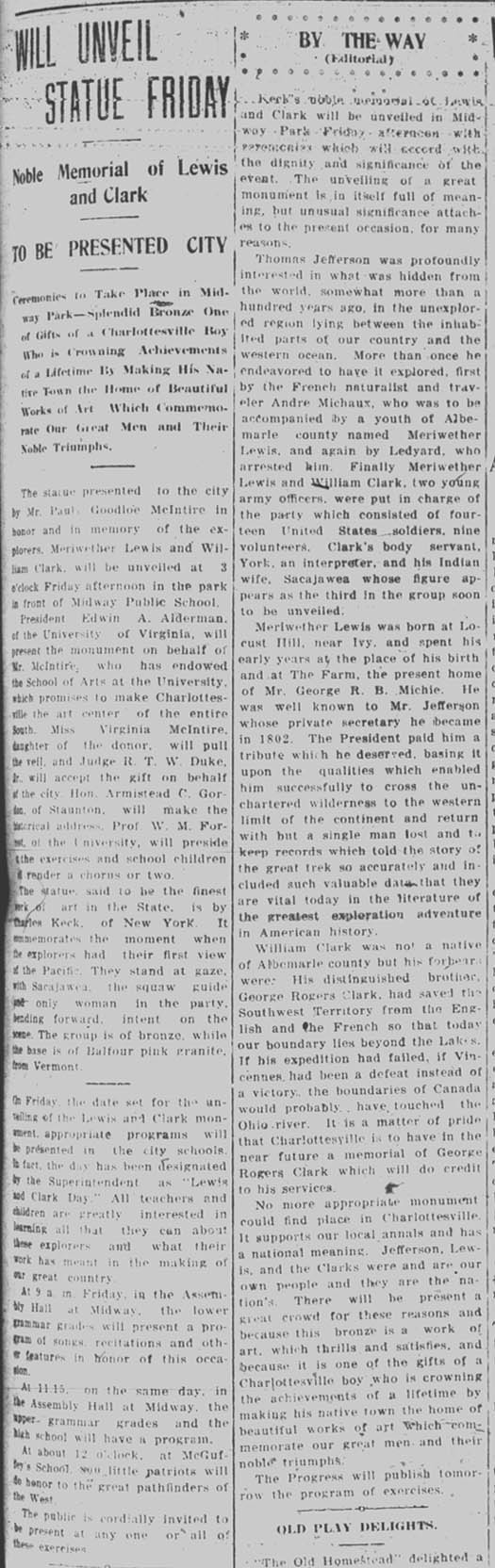 November 19, 1919 Daily Progress article on statue unveiling information. Courtesy of the Virginia Center for Digital History at the University of Virginian.