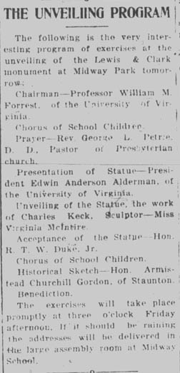 November 20, 1919 Daily Progress article on the Unveiling Program. Courtesy of the Virginia Center for Digital History at the University of Virginian.