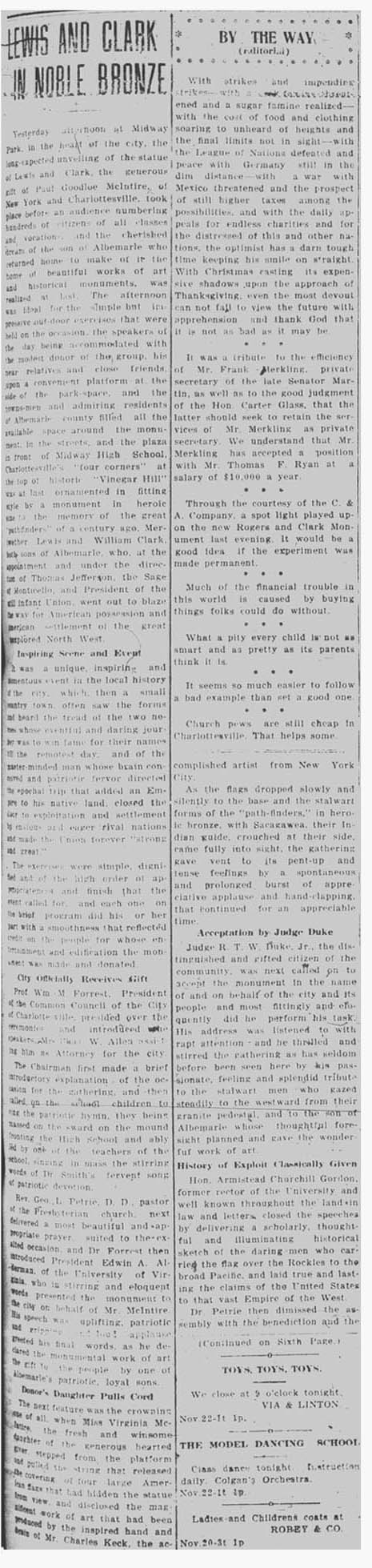 November 22, 1919 Daily Progress article on the unveiling. Courtesy of the Virginia Center for Digital History at the University of Virginian.