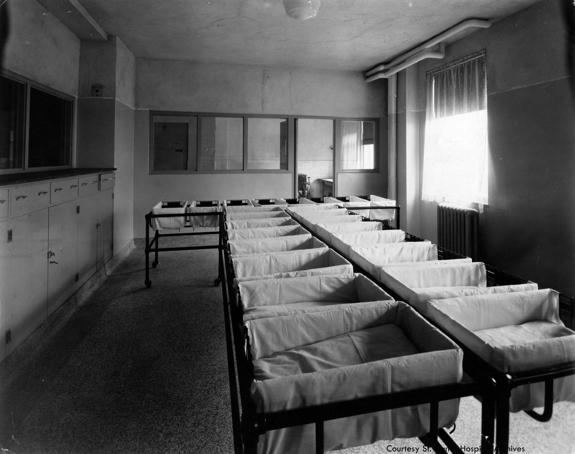Nursery at St. Agnes Hospital, c. 1925.