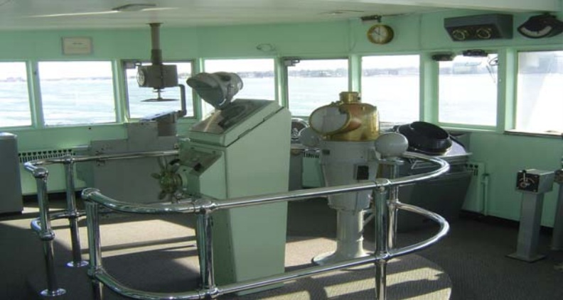 The pilothouse of the S.S. William Clay Ford, a freighter that once sailed the Great Lakes