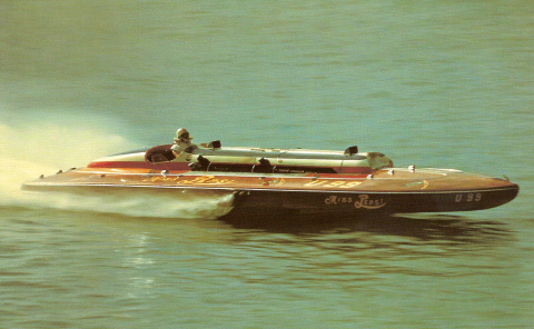 Miss Pepsi, one of the fastest hydroplane racing boats of all time. It was raced by members of the Dossin family until the mid-1950s.
