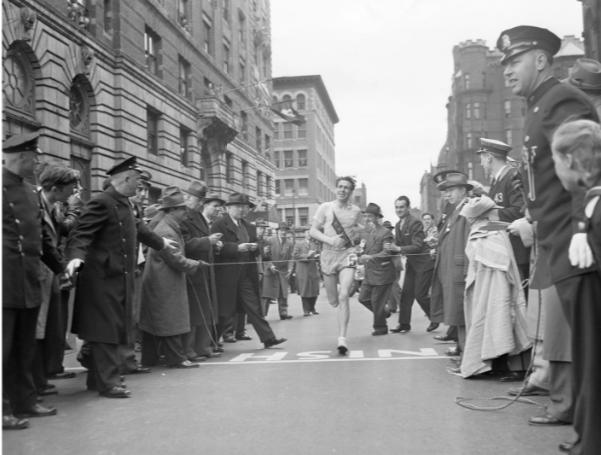 """Milkman"" Joe Smith of Medford, MA, finishes the 46th Boston Marathon with a new world record"