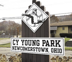 Sign on the entrance to the park (Source: http://www.cleveland.com/sports/index.ssf/2008/11/cy_young_forever_the_best_in_n.html)
