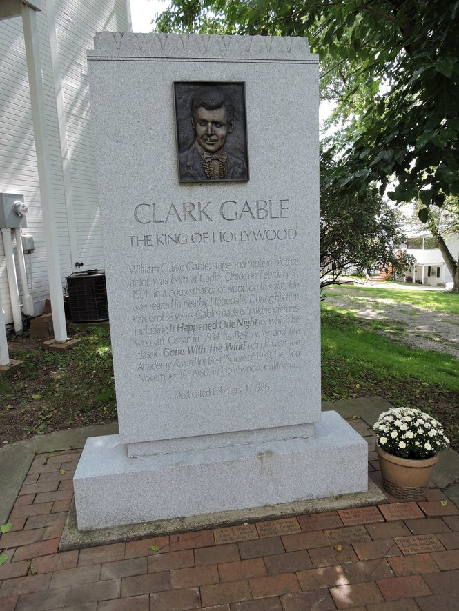 Clark Gable's monument stood on the property letting visitors know that this was the location of the actor's first home. Photo by Susan Glaser, The Plain Dealer
