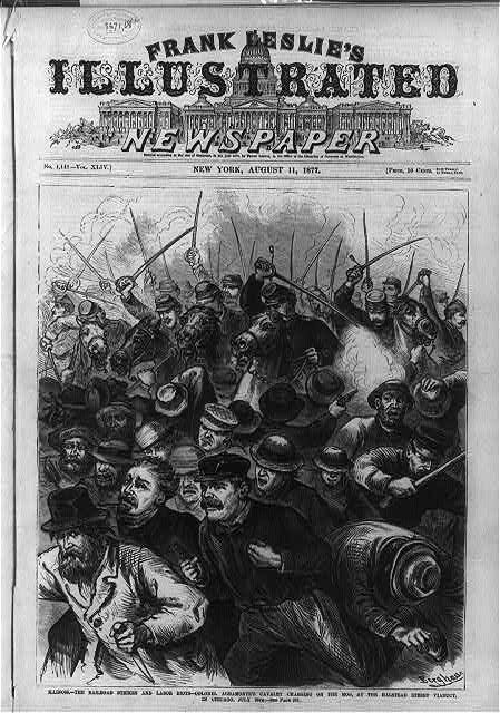 Striking Chicago railway workers attacked by troops on horseback in 1877.