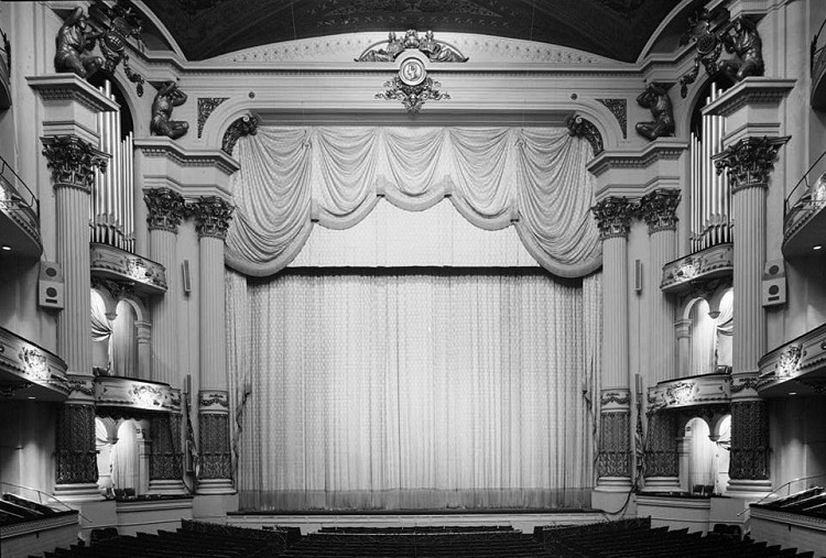 Proscenium wall and boxes. Architectural ornament by Charles Bushor and Joseph A. Bailly.