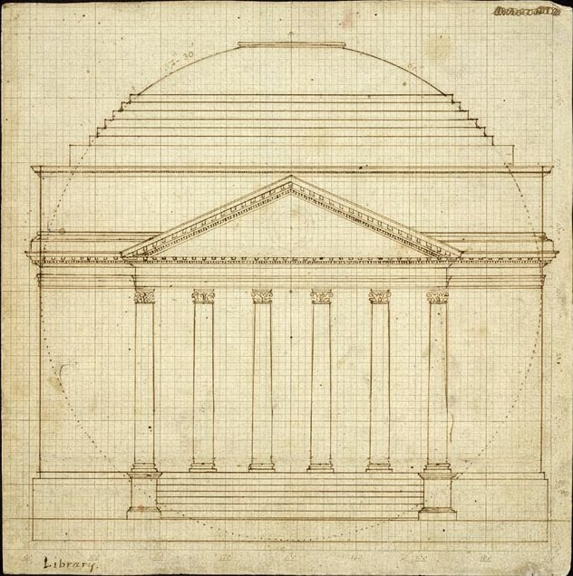 1819 draft of the Rotunda by Thomas Jefferson. Courtesy of the Library of Congress