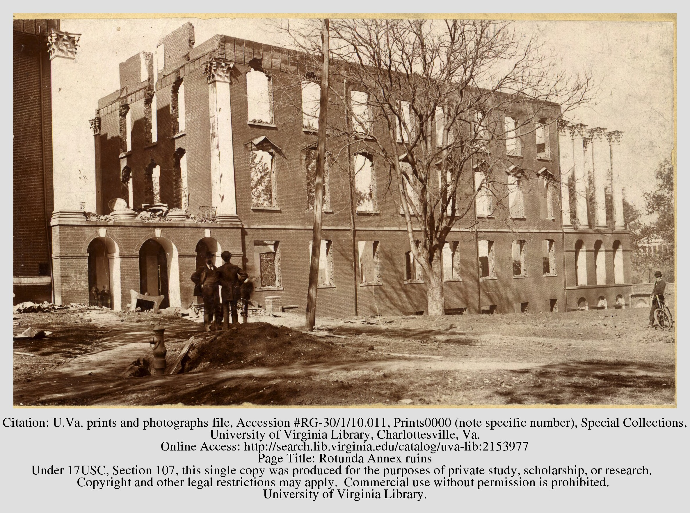 Ruins of the Rotunda Annex from the 1895 fire. Courtesy of the Library of the University of Virginia.
