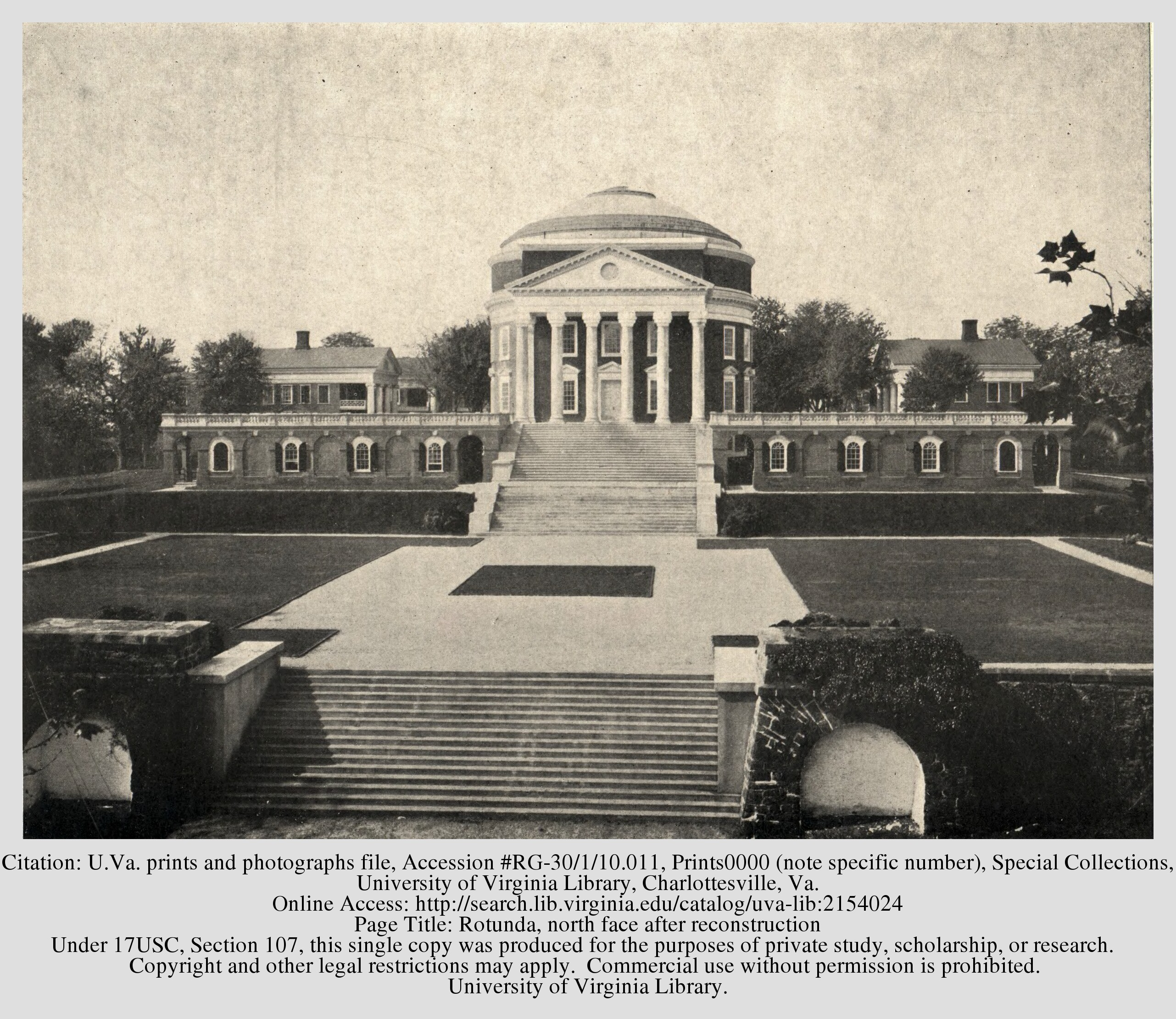 The reconstructed Rotunda in 1898. Courtesy of the Library of the University of Virginia.