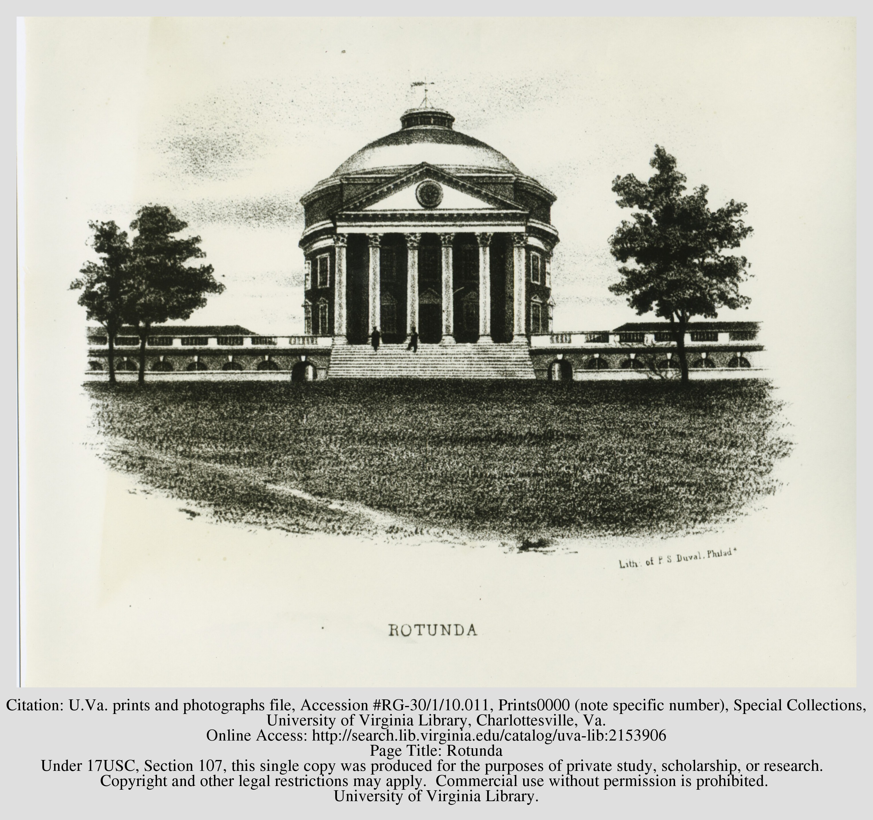 Drawing of the Rotunda, 1846. By Peter S. Duval. Courtesy of the Library of the University of Virginia.