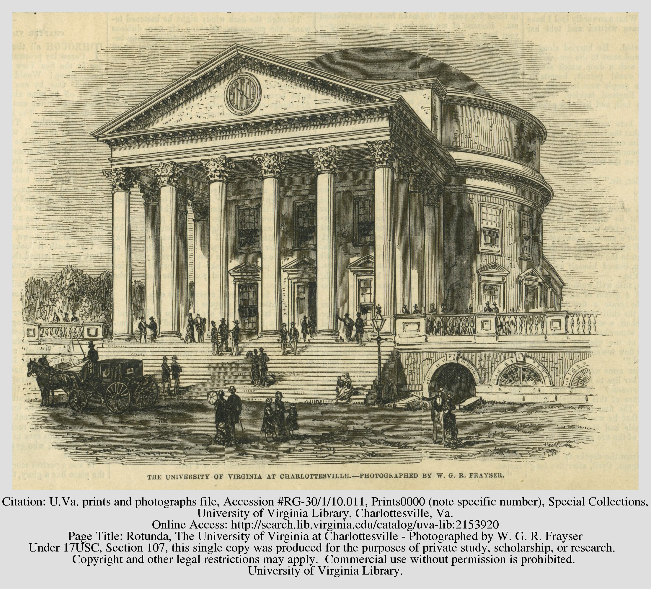 1876 drawing of the Rotunda by W.G.R. Frayser. Courtesy of the Library of the University of Virginia.
