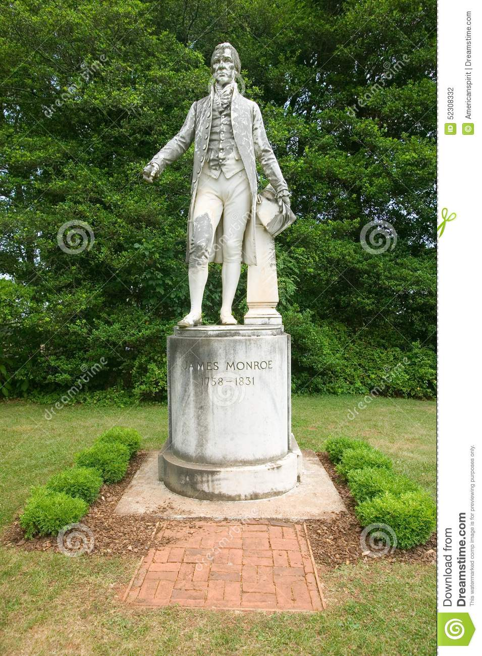 Statue of James Monroe located on Ash Lawn-Highland grounds