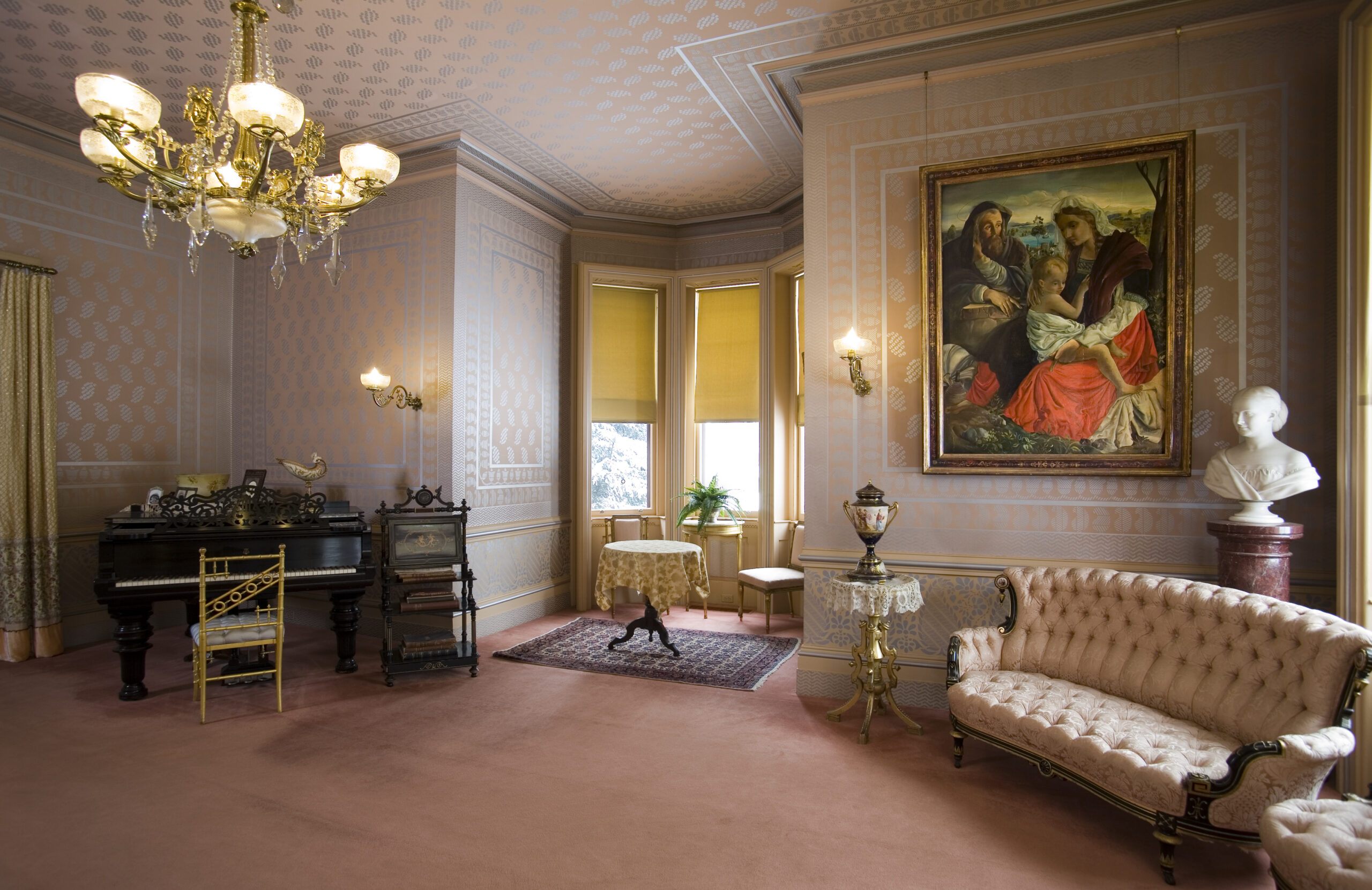 The Drawing Room: The furniture and chandelier belonged to the Clemens'