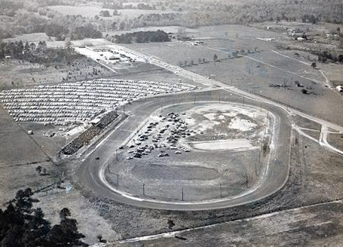 An aerial view of the former racetrack