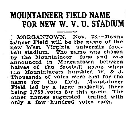 A clipping from the Charleston Daily Mail of November 28, 1924 proclaims the official title of WVU's new stadium, decided by popular vote that autumn.