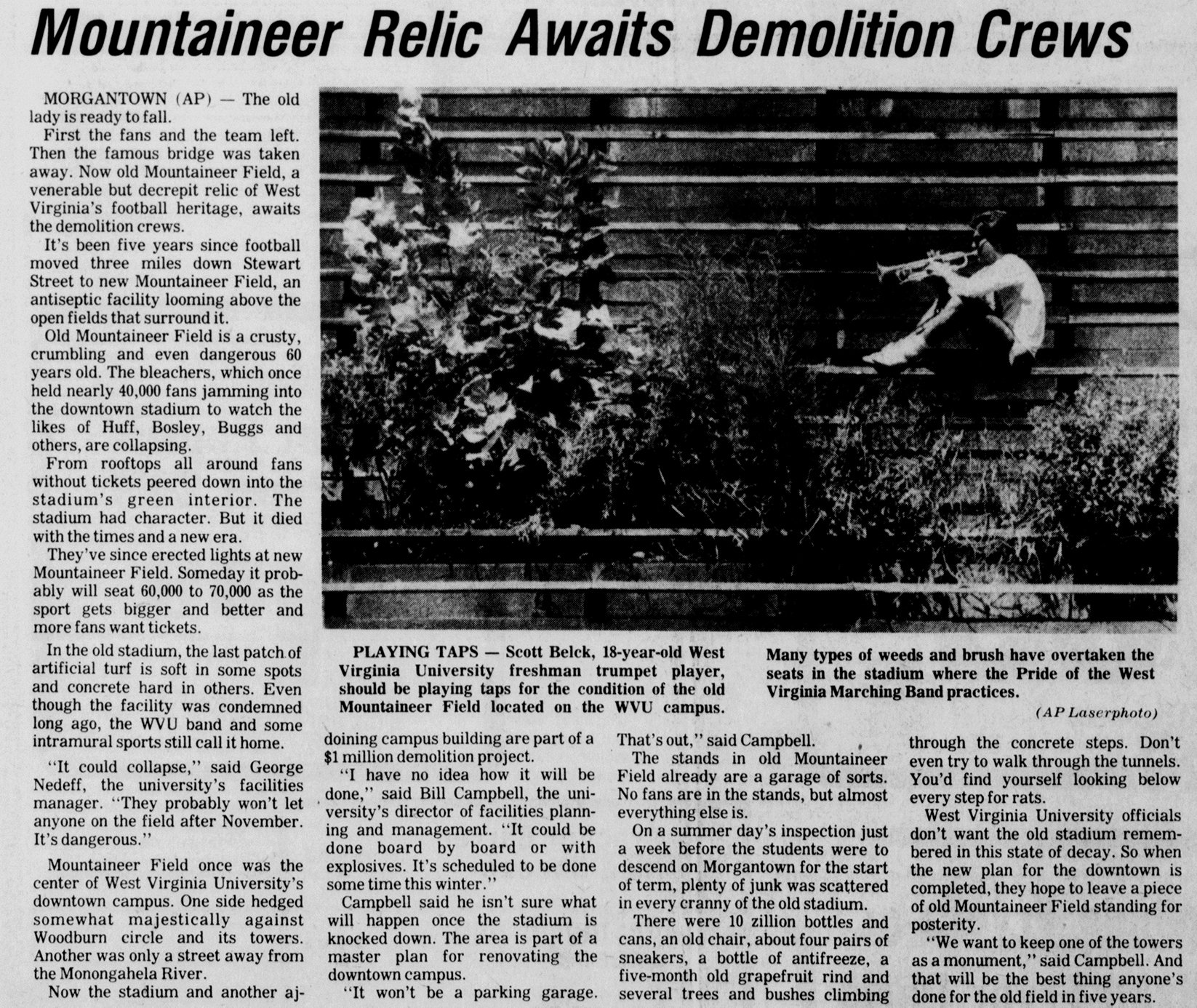 A clipping from the Bluefield Daily Telegraph of August 22, 1984 bemoans the state of the original Mountaineer Field as it awaits demolition.