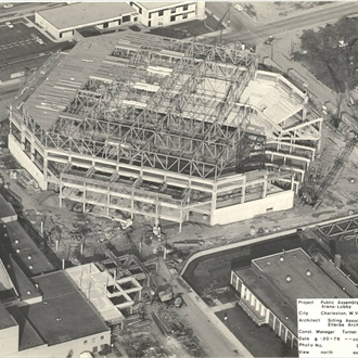 The coliseum addition being built in late 1979.