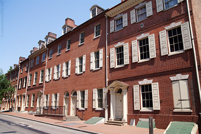 Architect Louis Sauer designed dozens of brick - rowhouse projects for the area around Society Hill, including Waverly Court and Penn's Landing Square.