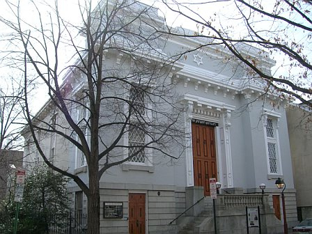 """Society Hill Synagogue"", built in 1829 as a Baptist church by Philadelphia architect Thomas U. Walter, one of the architects of the United States Capitol in Washington, DC."