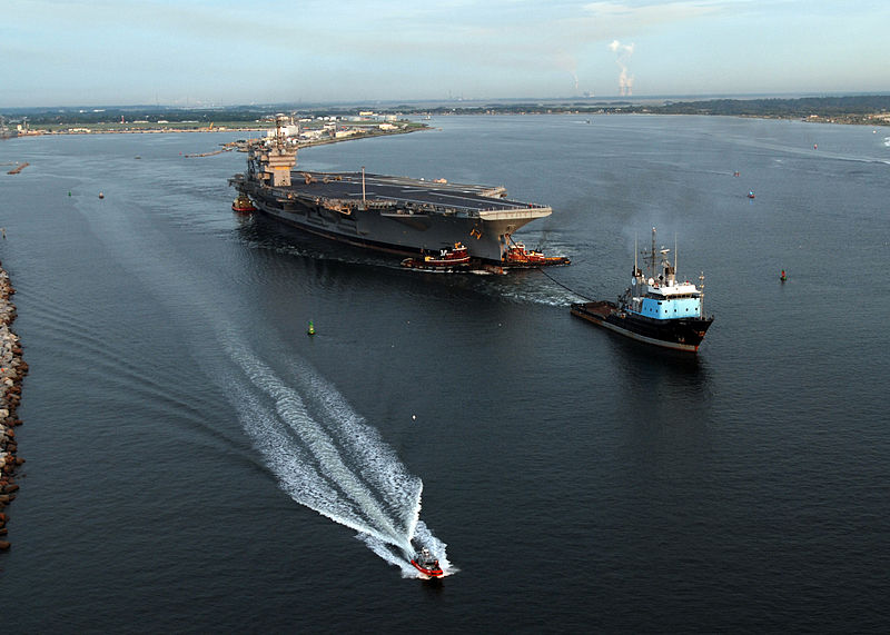 Decommissioned aircraft carrier John F. Kennedy (CV 67) departs Naval Station Mayport en route to Norfolk, Va.
