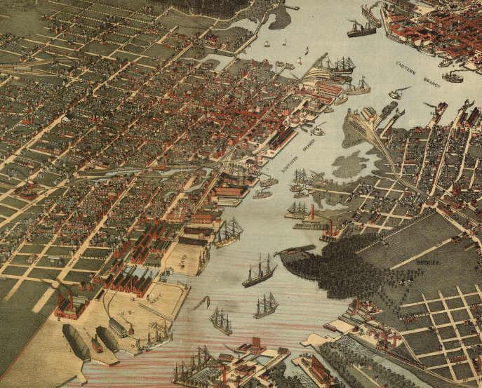 Artist's rendition of an aerial view of Portsmouth and Norfolk, 1891. Library of Congress.