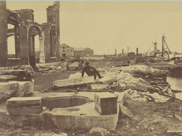 Ruins of Gosport Navy Yard after being destroyed by both sides during the Civil War. Library of Congress.