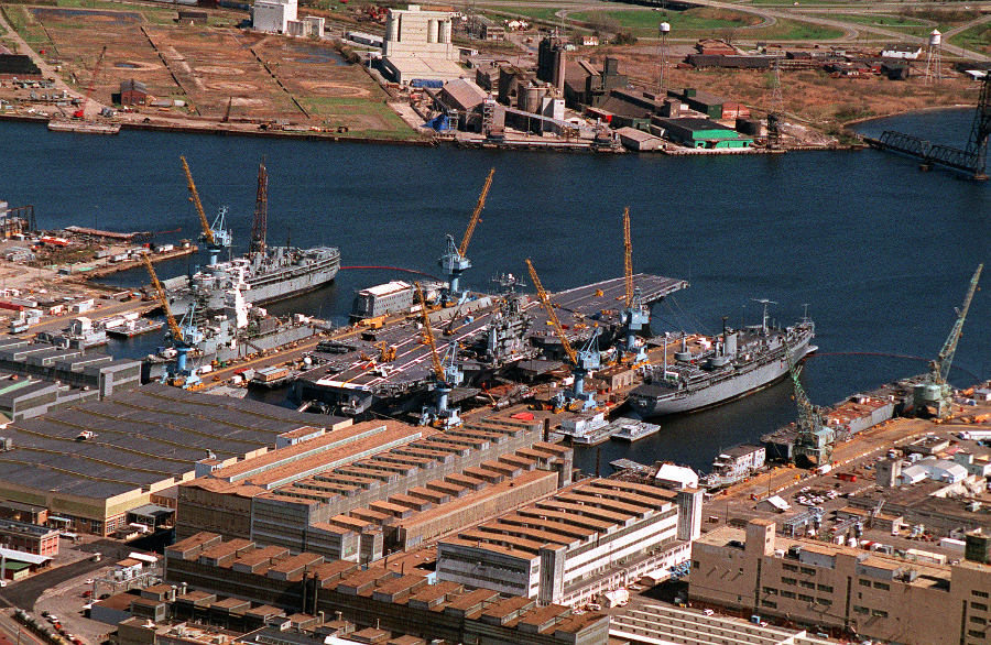 A modern view of the Norfolk Naval Shipyard. National Archives.