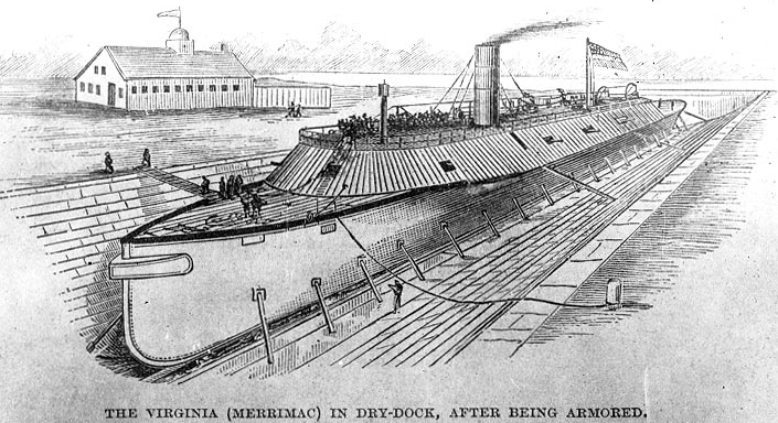 The CSS Virginia, formerly the USS Merrimack, undergoing modification in the drydock during the Civil War. US Navy National History & Heritage Command.