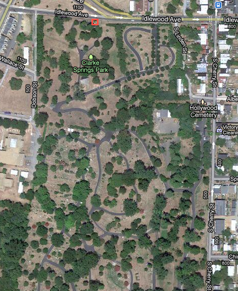 Birdseye view of cemetery. Red square toward the top-center of picture indicates locations of George Picket's gravesite