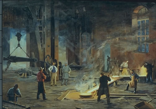 An artist's depiction of the casting of cannon at Tredegar during the Civil War.