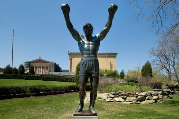 The fictional Rocky Balboa of Sylvester Stallone's Rocky movies was immortalized in bronze in 1980. After filming for the movie completed, Stallone donated the statue to the City of Philadelphia.
