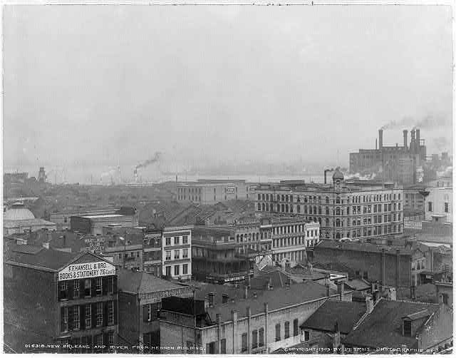 This photo from the collection of the Library of Congress shows New Orleans, with the Mississippi River in the distance, taken from the top of the Hennen Building in 1903.