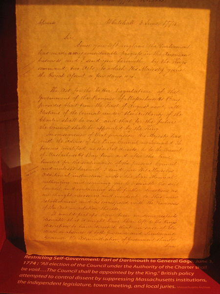 William Legge, 2nd Earl of Dartmouth's letter to General Gage, dated June 3, 1774, restricting self-governance in Massachusetts.