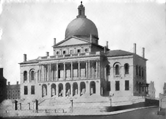 Massachusetts State House in 1827, drawing by Alexander Jackson Davis.