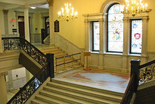Palladian window and grand staircase in Massachusetts State House.
