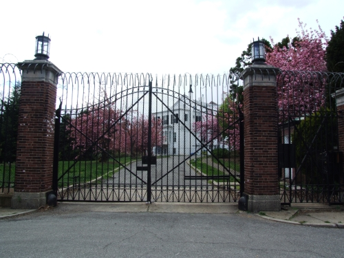 Looking at the house through the front gate