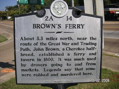 "Brown's Ferry Marker. ""About 3.3 miles north..."" Read this marker at this link."