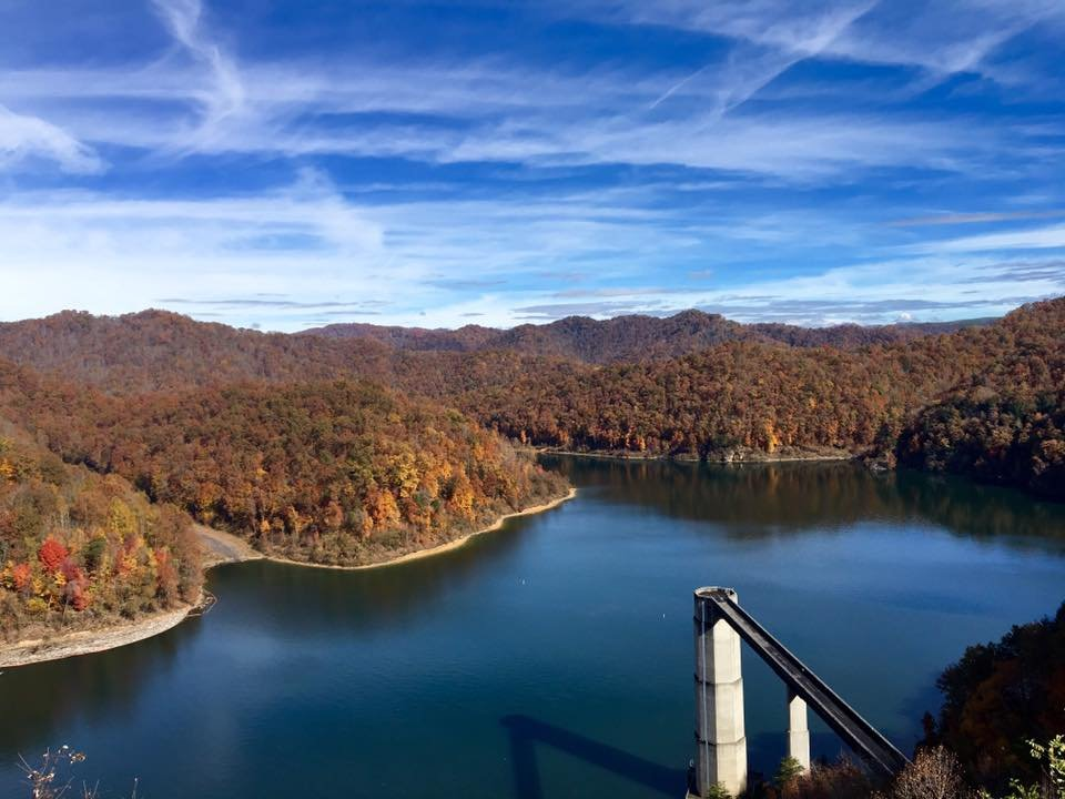 A look at the lake and dam during autumn.