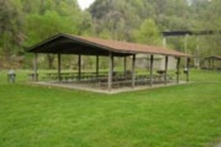 One of the group shelters available to visitors at the lake.