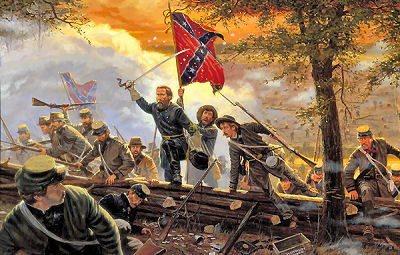 """""""Desperate Valor,"""" by Dale Gallon. Shows John Bell Hood leading his Texans against Federal Lines during Seven Day's Battle."""