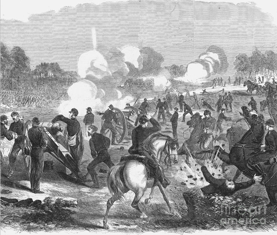 This 1862 depiction of the Seven Day's Battle shows the Union trying to hold off the attacks by the Confederacy.